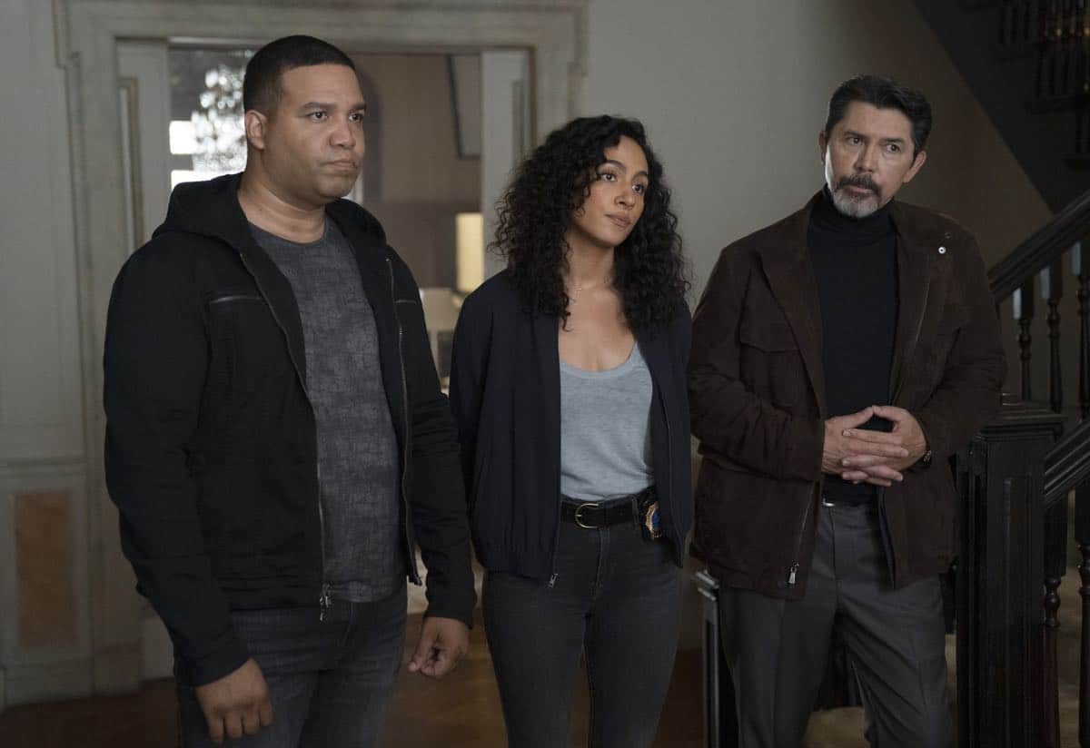 "PRODIGAL SON:  L-R:  Frank Harts, Aurora Perrineau and Lou Diamond Phillips in the ""Annihilator"" episode of PRODIGAL SON airing Monday, Sept. 30  (9:00-10:00 PM ET/PT) on FOX. © 2019 FOX MEDIA LLC. Cr: Peter Kramer/ FOX."
