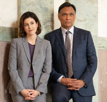 "BLUFF CITY LAW -- ""You Don't Need A Weatherman"" Episode 102 -- Pictured: (l-r) Caitlin McGee as Sydney Strait, Jimmy Smits as Elijah Strait -- (Photo by: Connie Chornuk/NBC)"