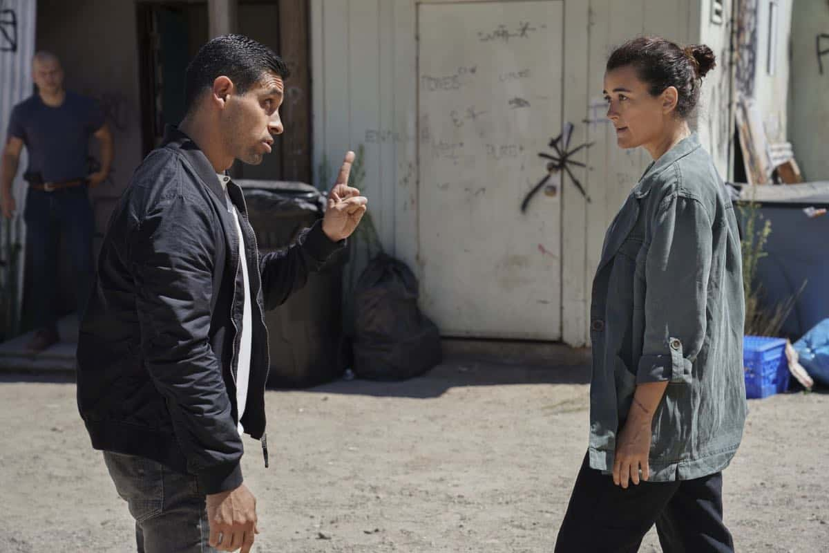 """Into the Light"" - With their lives in danger, Gibbs and Ziva's rogue investigation takes an unexpected turn when a possible terrorist plot is revealed, on NCIS, Tuesday, Oct. 1 (8:00-9:00 PM, ET/PT) on the CBS Television Network. Pictured: Cote de Pablo as Ziva David, Wilmer Valderrama as NCIS Special Agent Nicholas ""Nick"" Torres. Photo: Michael Yarish/CBS ©2019 CBS Broadcasting, Inc. All Rights Reserved"