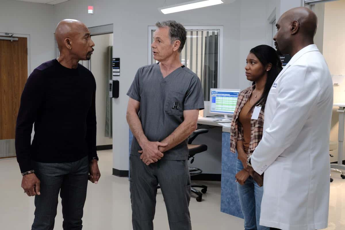 "THE RESIDENT:  L-R:  Guest star Montel Williams, Bruce Greenwood, guest star Brittney Level and Morris Chestnut in the ""Flesh of My Flesh"" episode of THE RESIDENT airing Tuesday, Oct. 1 (8:00-9:00 PM ET/PT) on FOX. ©2019 Fox Media LLC Cr: Guy D'Alema/FOX"