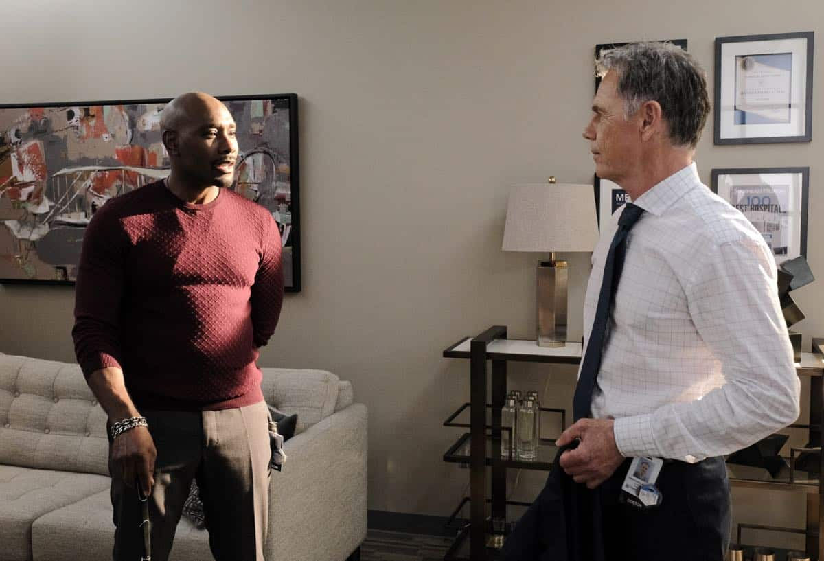 "THE RESIDENT:  Morris Chestnut and Bruce Greenwood in the ""Flesh of My Flesh"" episode of THE RESIDENT airing Tuesday, Oct. 1 (8:00-9:00 PM ET/PT) on FOX. ©2019 Fox Media LLC Cr: Guy D'Alema/FOX"