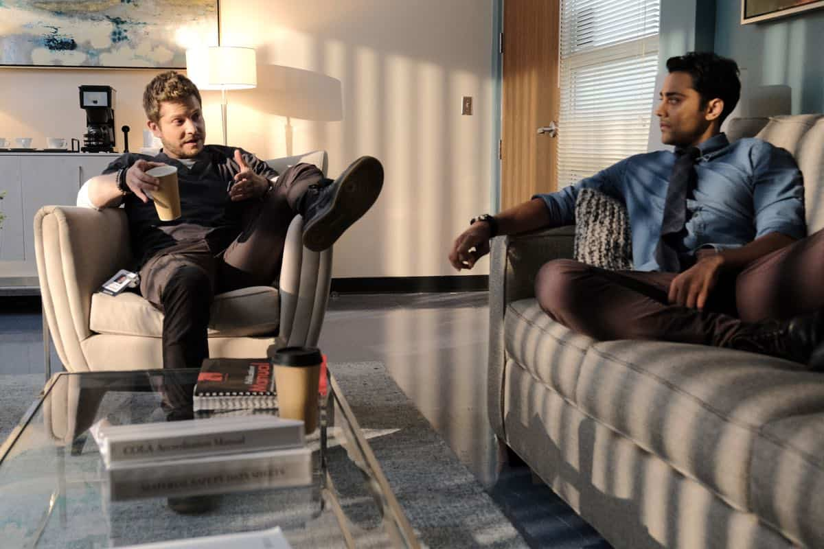 """THE RESIDENT: L-R: Matt Czuchry and Manish Dayal in the """"Flesh of My Flesh"""" episode of THE RESIDENT airing Tuesday, Oct. 1 (8:00-9:00 PM ET/PT) on FOX. ©2019 Fox Media LLC Cr: Guy D'Alema/FOX"""