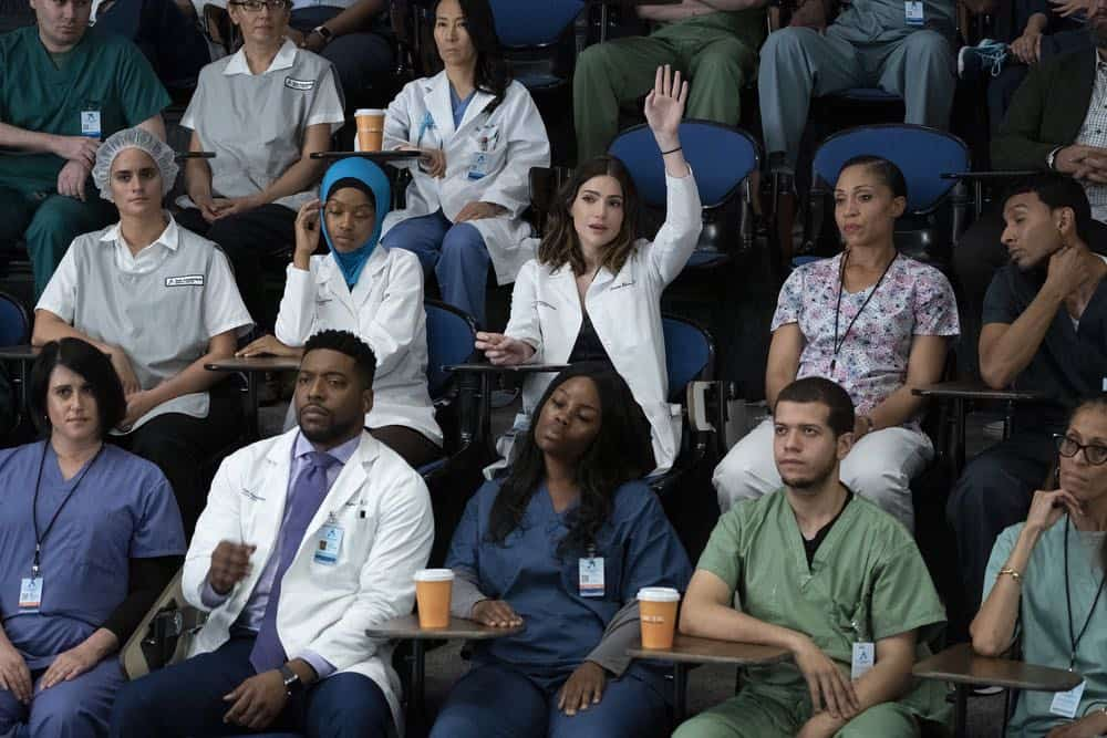 "NEW AMSTERDAM -- ""The Big Picture"" Episode 202 -- Pictured: (l-r) Jocko Sims as Dr. Floyd Reynolds, Janet Montgomery as Dr. Lauren Bloom -- (Photo by: Virginia Sherwood/NBC)"