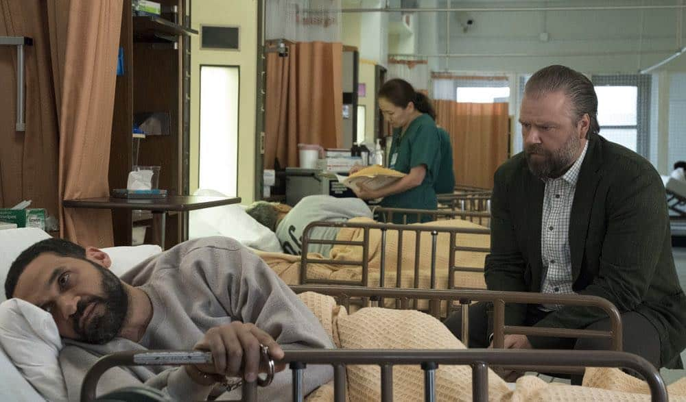 "NEW AMSTERDAM -- ""The Big Picture"" Episode 202 -- Pictured: (l-r) Eden Marryshow as Bijan, Tyler Labine as Dr. Iggy Frome -- (Photo by: Virginia Sherwood/NBC)"