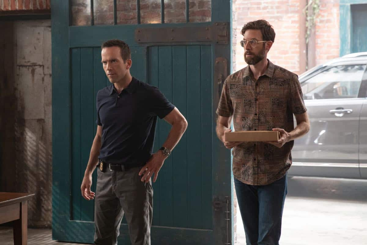 Pictured L-R: Lucas Black as Special Agent Christopher LaSalle and Rob Kerkovich as Forensic Scientist Sebastian Lund