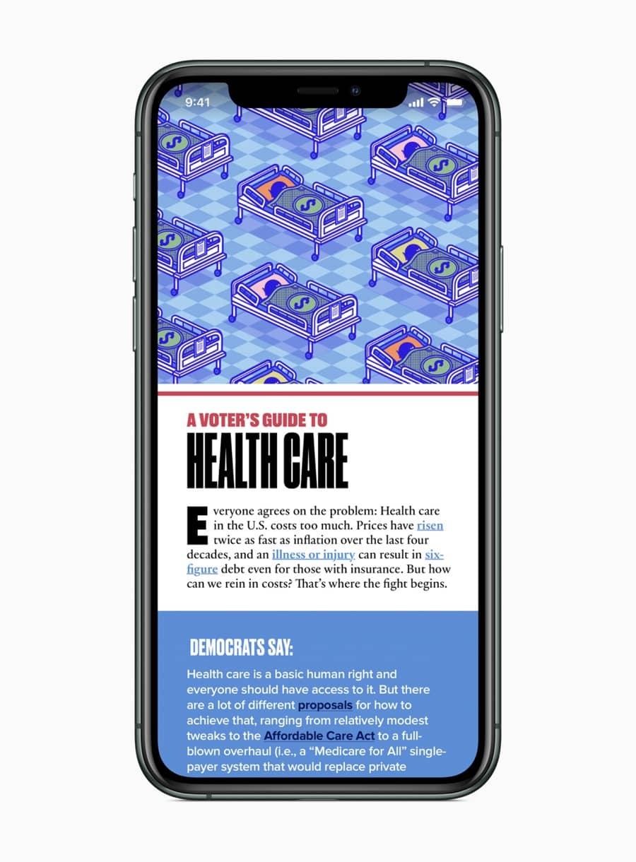 Apple news a voters guide to healthcare screen 02032020