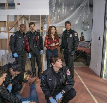 "911 LONE STAR Season 1 Episode 7 9-1-1: LONE STAR: L-R: Guest star Mark Elias, guest star Brianna Baker, Brian Michael Smith, Ronen Rubinstein, guest star Erin Karpluk, Liv Tyler and Rob Lowe in the ""Bum Steer"" episode of 9-1-1: LONE STAR airing Monday, Feb. 24 (8:00-9:01 PM ET/PT) on FOX. ©2020 Fox Media LLC. CR: Jack Zeman/FOX."
