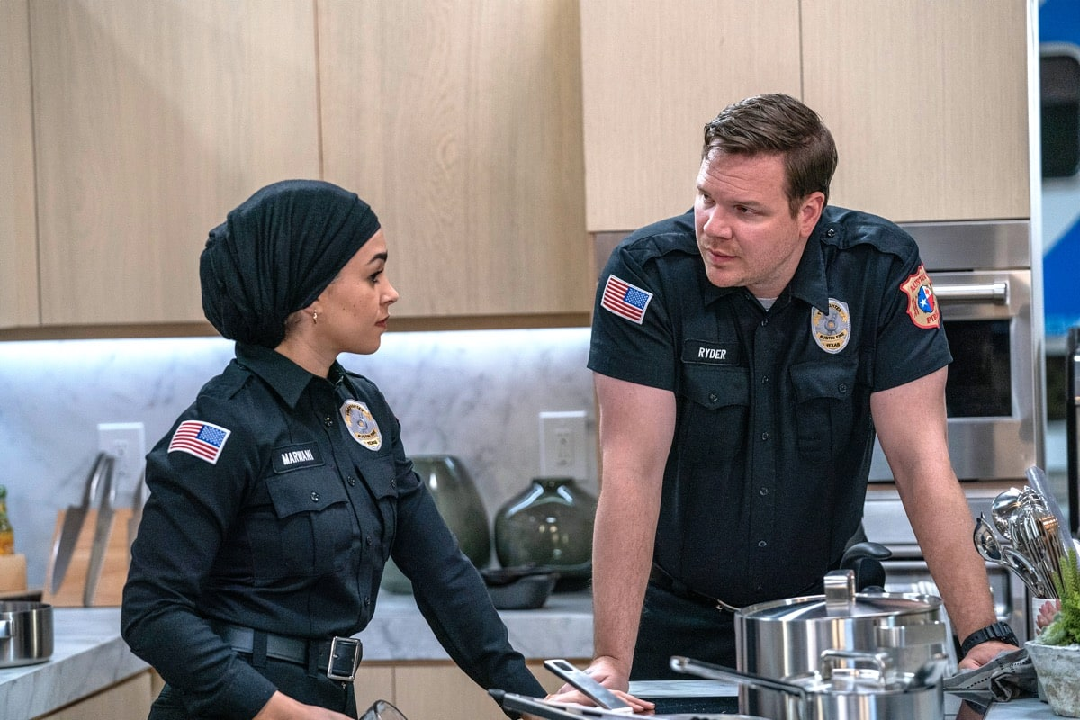 "9-1-1: LONE STAR: L-R: Natacha Karam and Jim Parrack in the ""Bum Steer"" episode of 9-1-1: LONE STAR airing Monday, Feb. 24 (8:00-9:01 PM ET/PT) on FOX. ©2020 Fox Media LLC. CR: Jack Zeman/FOX."