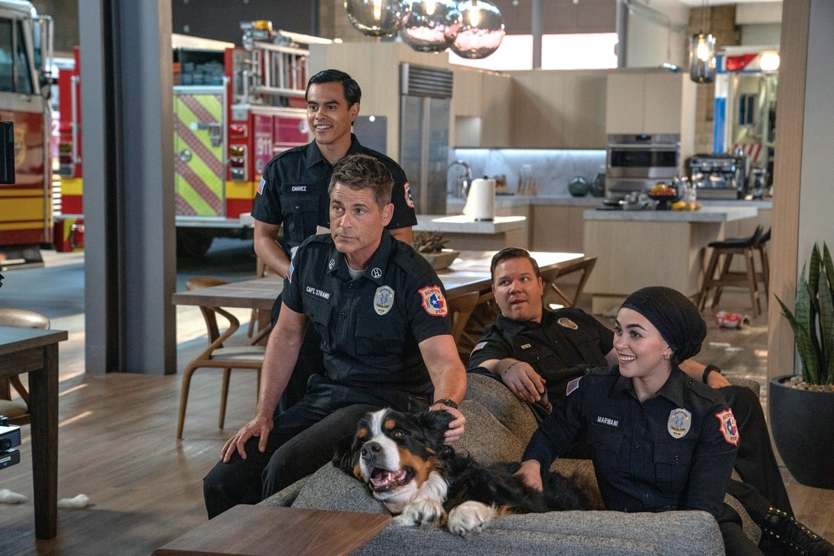 "9-1-1: LONE STAR: L-R: Julian Works, Rob Lowe, Jim Parrack and Natacha Karam in the ""Monster Inside"" episode of 9-1-1: LONE STAR airing Monday, March 2 (8:00-9:01 PM ET/PT) on FOX. ©2020 Fox Media LLC. CR: Jack Zeman/FOX."