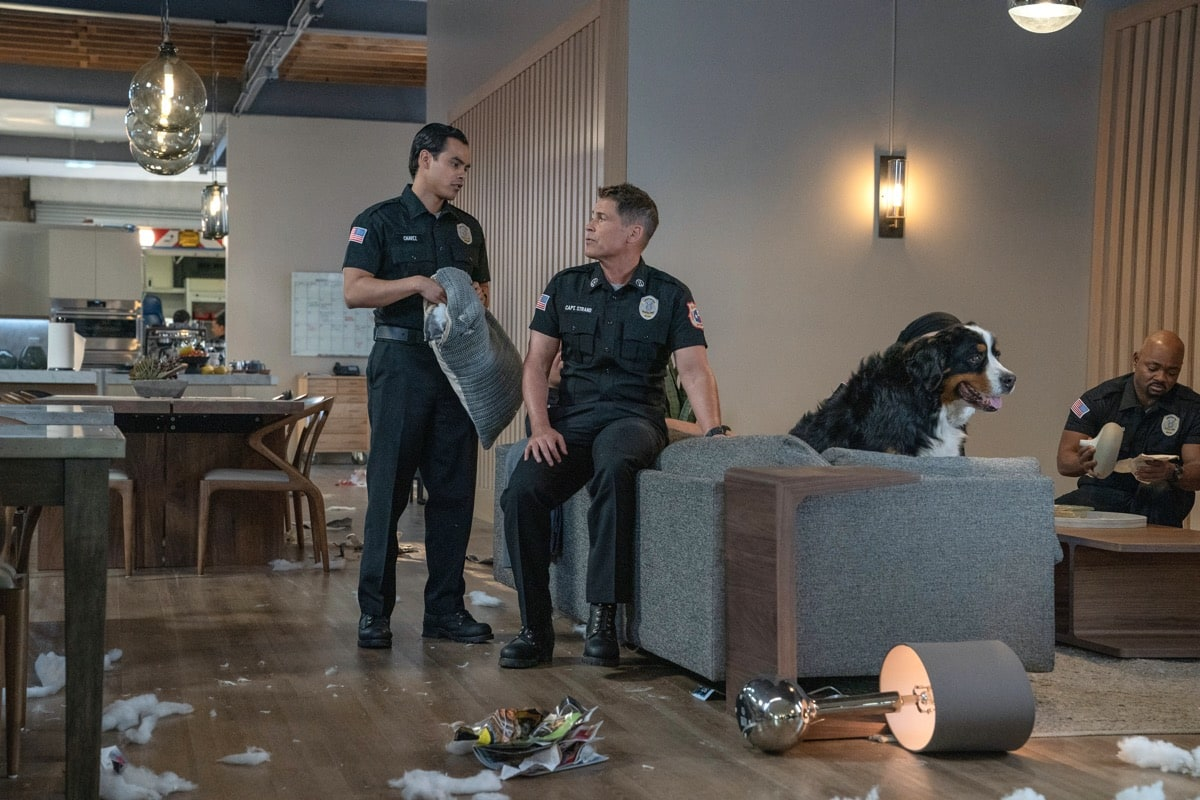 "9-1-1: LONE STAR: L-R: Julian Works, Rob Lowe and Brian Michael Smith in the ""Monster Inside"" episode of 9-1-1: LONE STAR airing Monday, March 2 (8:00-9:01 PM ET/PT) on FOX. ©2020 Fox Media LLC. CR: Jack Zeman/FOX."