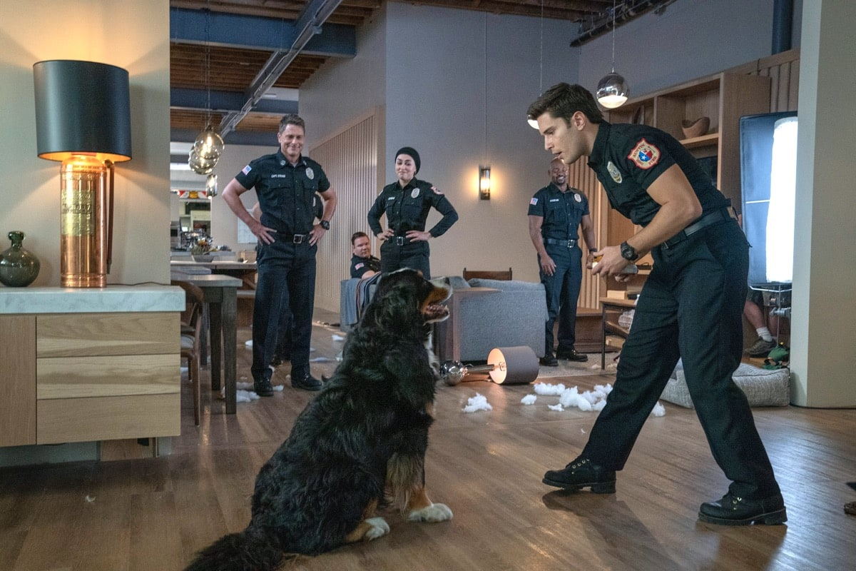 "9-1-1: LONE STAR: L-R: Rob Lowe, Jim Parrack, Natacha Karam, Brian Michael Smith and Ronen Rubinstein in the ""Monster Inside"" episode of 9-1-1: LONE STAR airing Monday, March 2 (8:00-9:01 PM ET/PT) on FOX. ©2020 Fox Media LLC. CR: Jack Zeman/FOX."