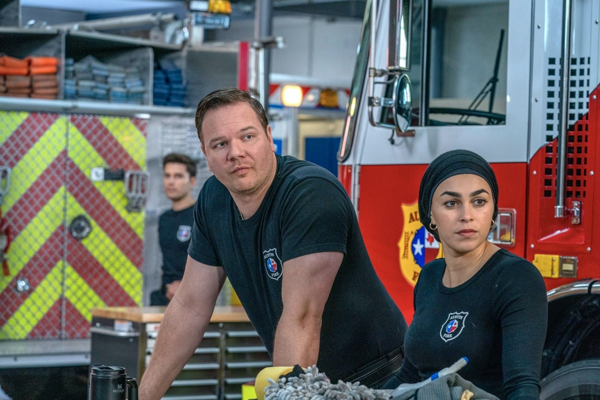 "9-1-1: LONE STAR: L-R: Ronen Rubinstein, Jim Parrack and Natacha Karam in the ""Monster Inside"" episode of 9-1-1: LONE STAR airing Monday, March 2 (8:00-9:01 PM ET/PT) on FOX. ©2020 Fox Media LLC. CR: Jack Zeman/FOX."