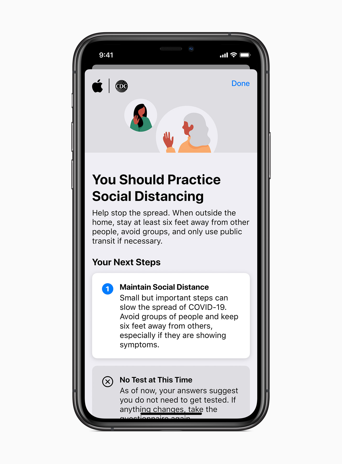 Apple iphone11pro ios13 response results distancing 03272020