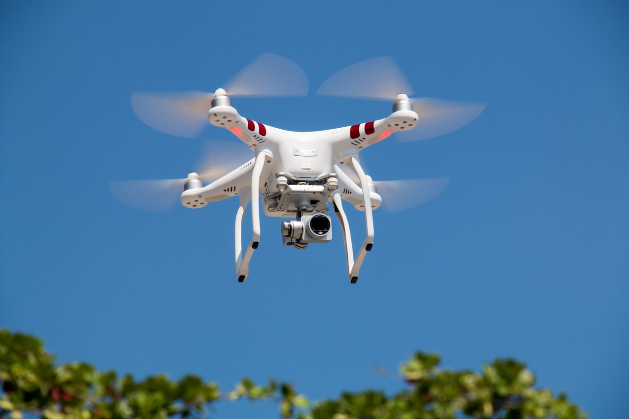 drone flying against blue sky 336232
