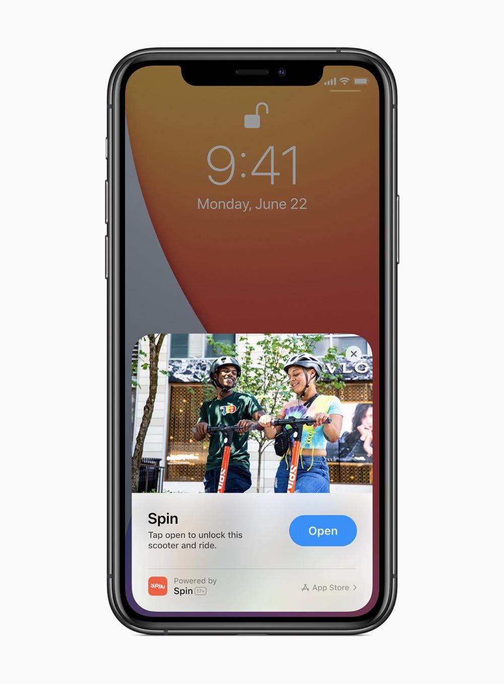 Apple ios14 app clips spin app 06222020
