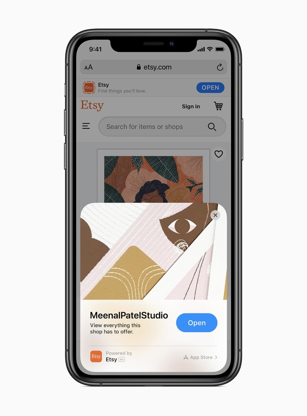 Apple ios14 app clips etsy app screen 06222020