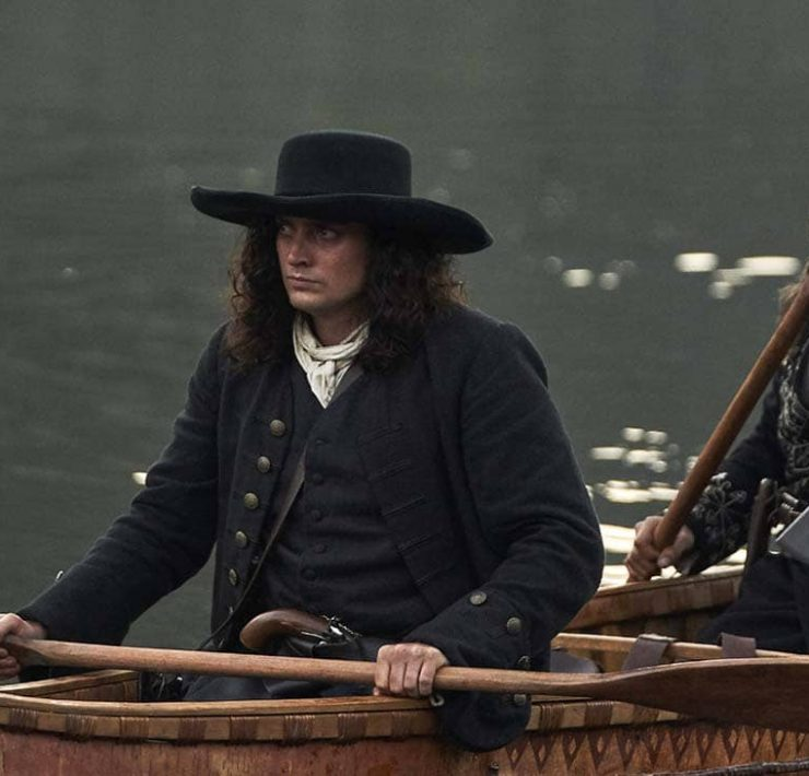 Hamish Goames (Aneurin Barnard) and Yvon (Zahn McClarnon) arrive in New France. (National Geographic/Peter H. Stranks)
