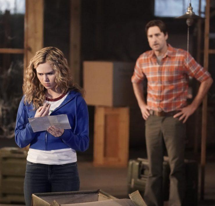 Brec Bassinger as Courtney Whitmore and Luke Wilson as Pat Dungan Stargirl