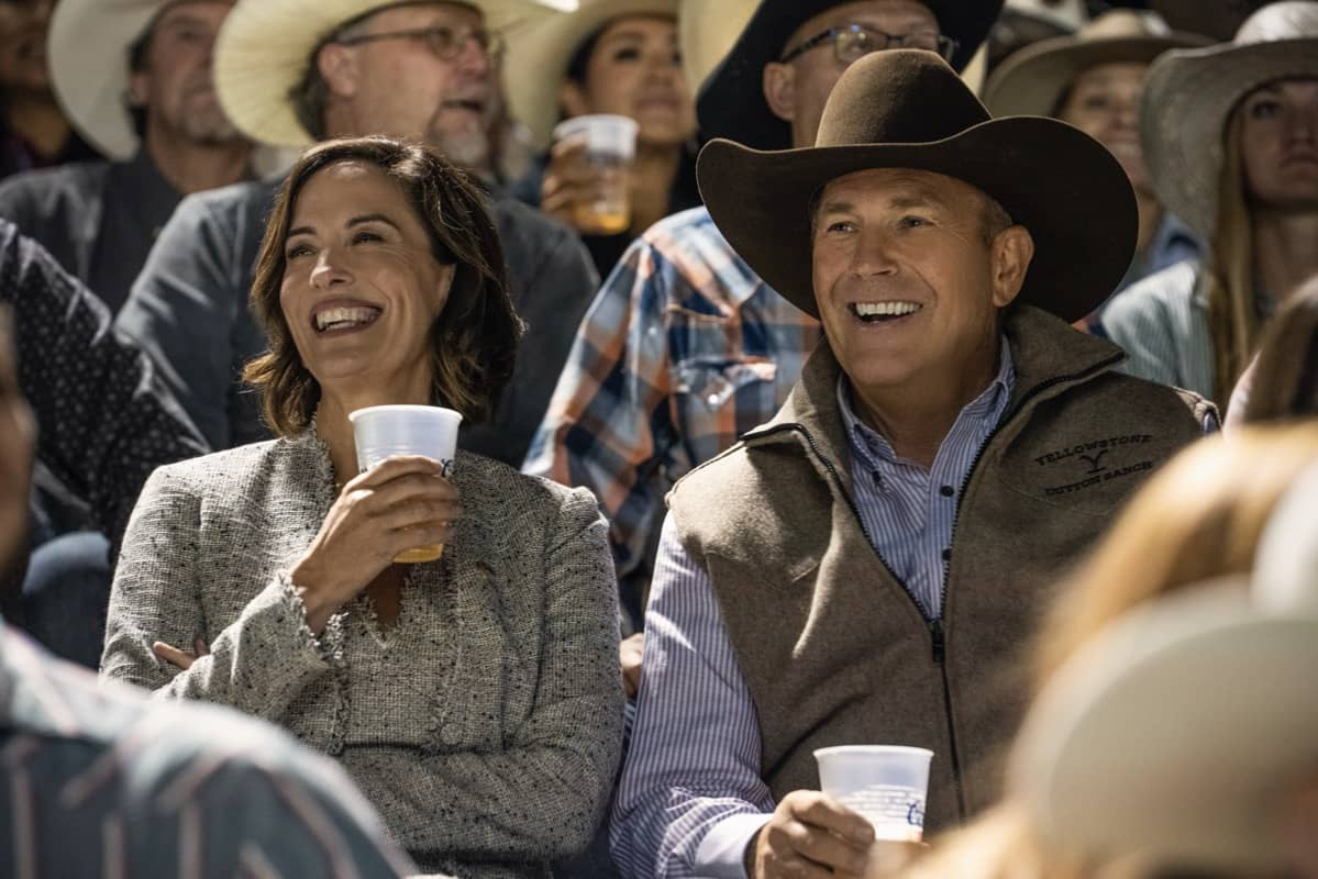"""(L-R) Wendy Moniz-Grillo as Governor Perry and Kevin Costner as John Dutton. Episode 3 of Yellowstone - """"An Acceptable Surrender"""" premieres Sunday, July 5 at 9 P.M. ET/PT on Paramount Network."""