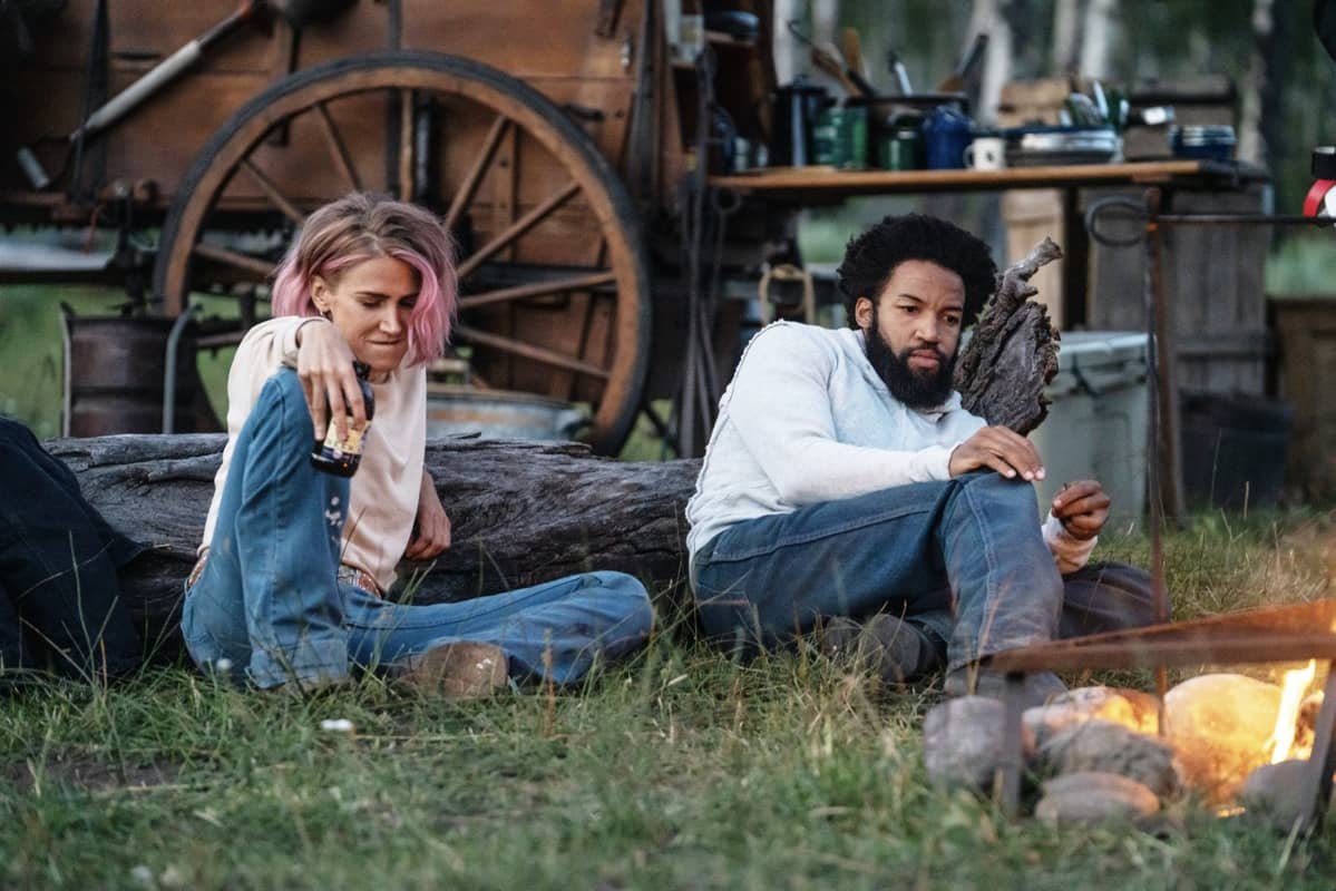 """(L-R) Jennifer Landon as Teeter and Denim Richards as Colby. Episode 3 of Yellowstone - """"An Acceptable Surrender"""" premieres Sunday, July 5 at 9 P.M. ET/PT on Paramount Network."""