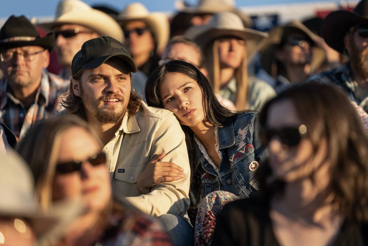 """(L-R) Luke Grimes as Kayce Dutton and Kelsey Asbille as Monica Dutton. Episode 3 of Yellowstone - """"An Acceptable Surrender"""" premieres Sunday, July 5 at 9 P.M. ET/PT on Paramount Network."""