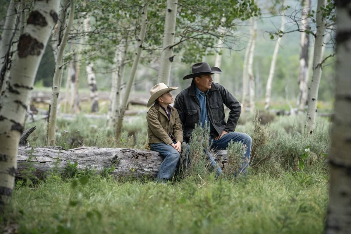 """(L-R) Brecken Merrill as Tate Dutton and Kevin Costner as John Dutton. Episode 3 of Yellowstone - """"An Acceptable Surrender"""" premieres Sunday, July 5 at 9 P.M. ET/PT on Paramount Network."""