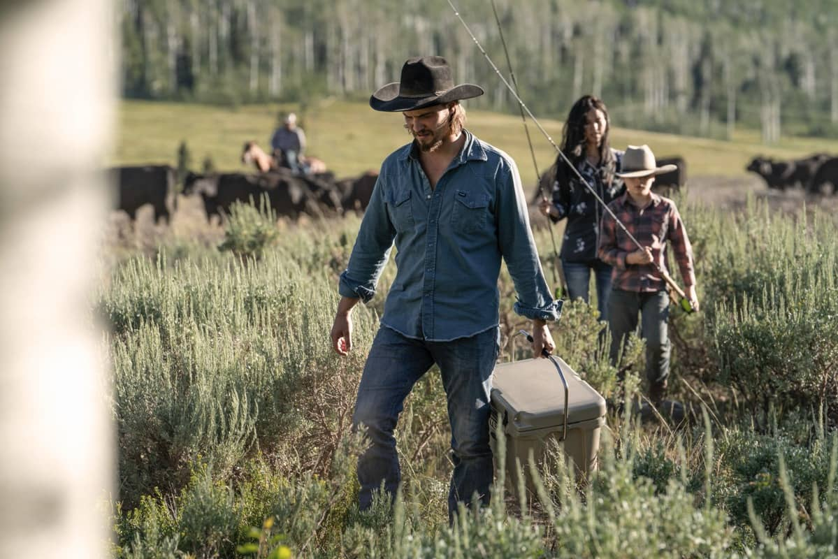 "(L-R) Luke Grimes as Kayce Dutton, Brecken Merrill as Tate Dutton and Kelsey Asbille as Monica Dutton. Episode 4 of Yellowstone- ""Going Back to Cali"" premieres July 12 at 9 P.M. ET/PT on Paramount Network."