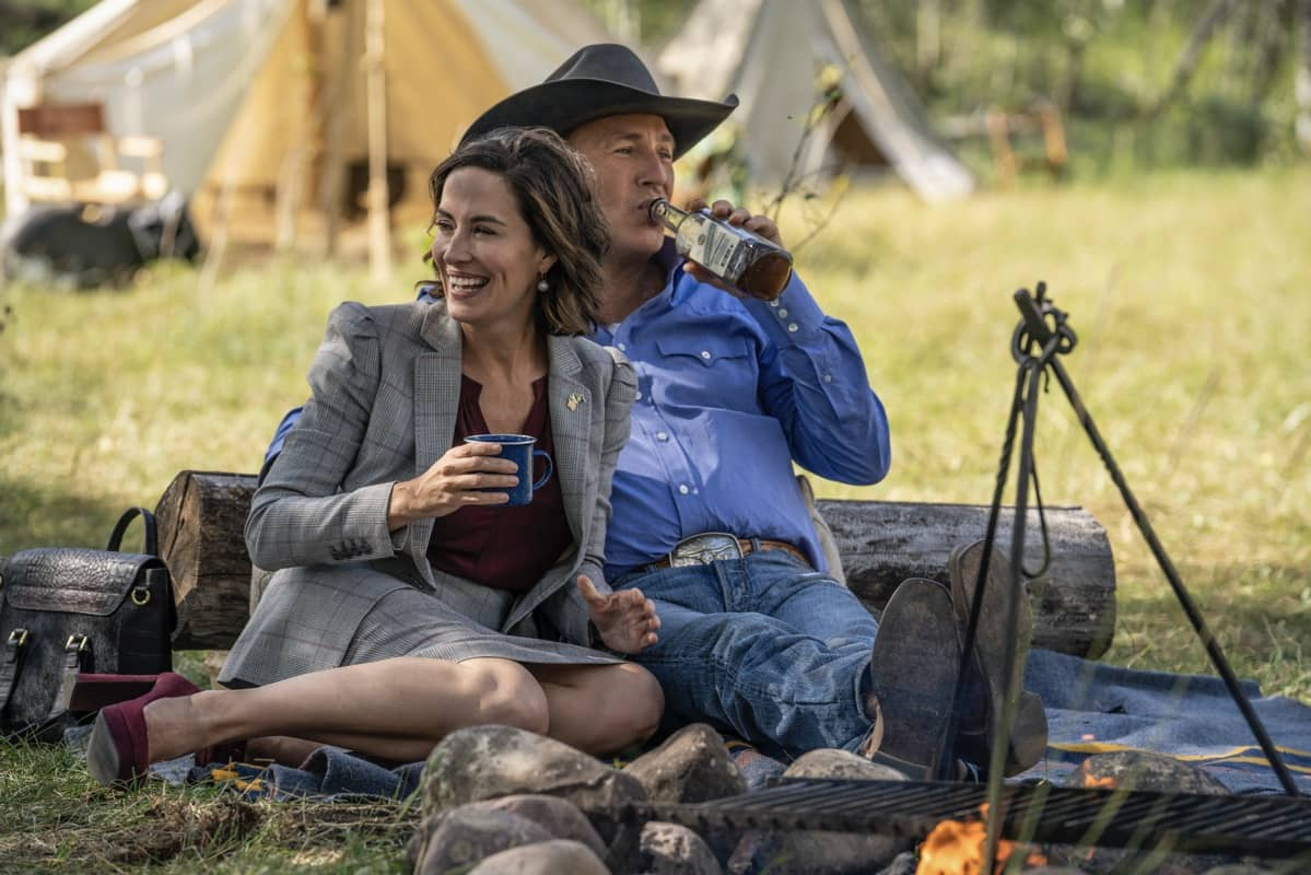 "(L-R) Wendy Moniz-Grillo as Governor Perry and Kevin Costner as John Dutton. Episode 4 of Yellowstone- ""Going Back to Cali"" premieres July 12 at 9 P.M. ET/PT on Paramount Network."