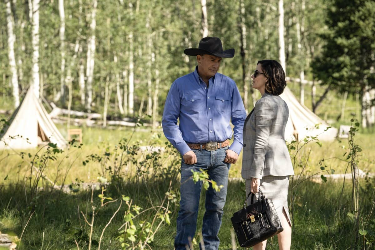 "(L-R) Kevin Costner as John Dutton and Wendy Moniz-Grillo as Governor Perry. Episode 4 of Yellowstone- ""Going Back to Cali"" premieres July 12 at 9 P.M. ET/PT on Paramount Network."