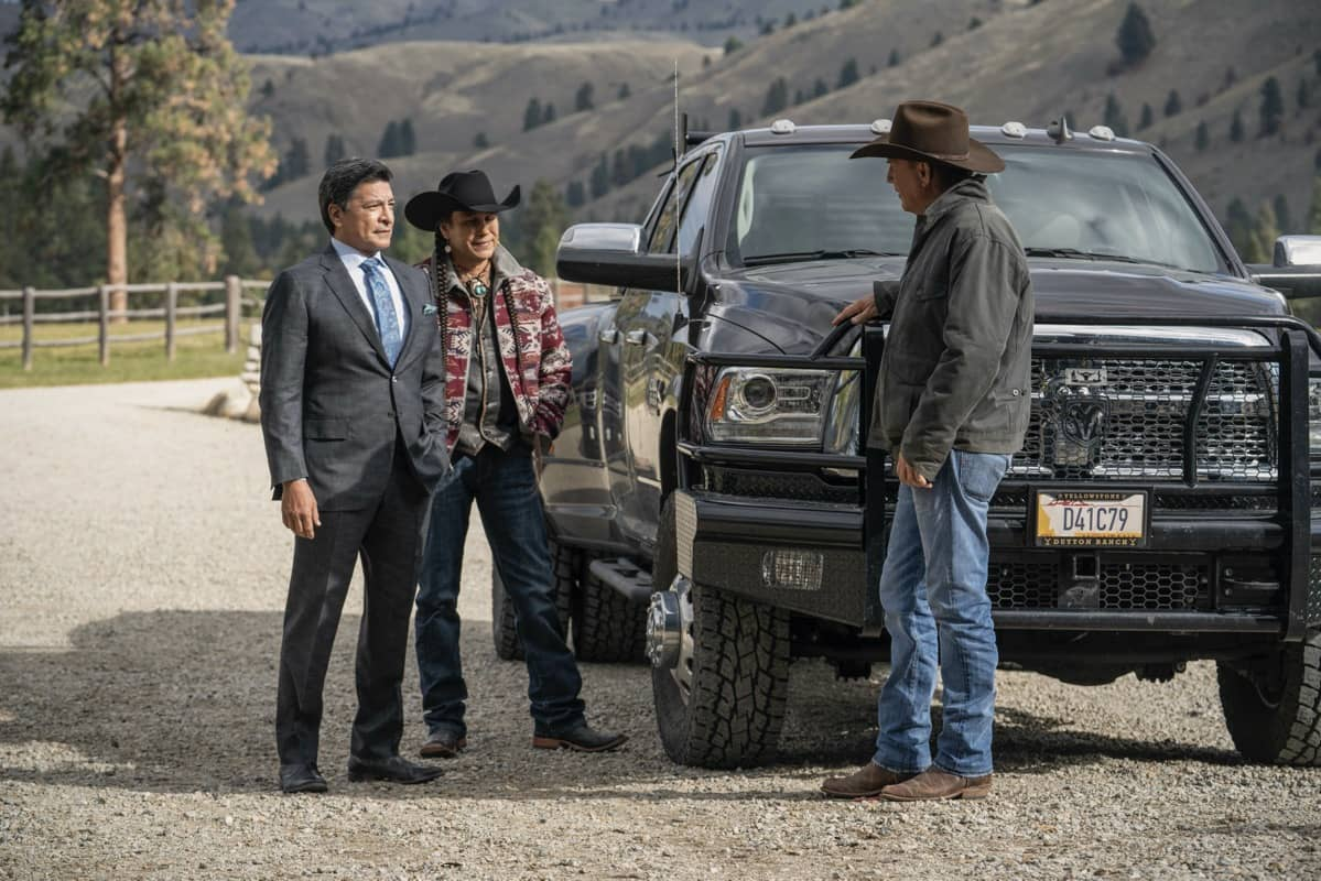 "(L-R) Gil Birmingham as Thomas Rainwater, Moses Brings Plenty as Mo, and Kevin Costner as John Dutton. Episode 5 of Yellowstone - ""Cowboys and Dreamers"" Premieres July 19th at 9 P.M. ET/PT on Paramount Network."