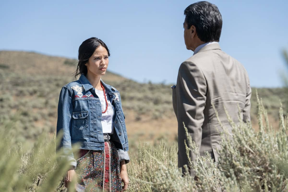"YELLOWSTONE Season 3 Episode 6 Photos All For Nothing - (L-R) Kelsey Asbille as Monica Dutton and Gil Birmingham as Thomas Rainwater. Episode 6 of Yellowstone - ""All for Nothing"" Premieres July 26th at 9 P.M. ET/PT on Paramount Network."