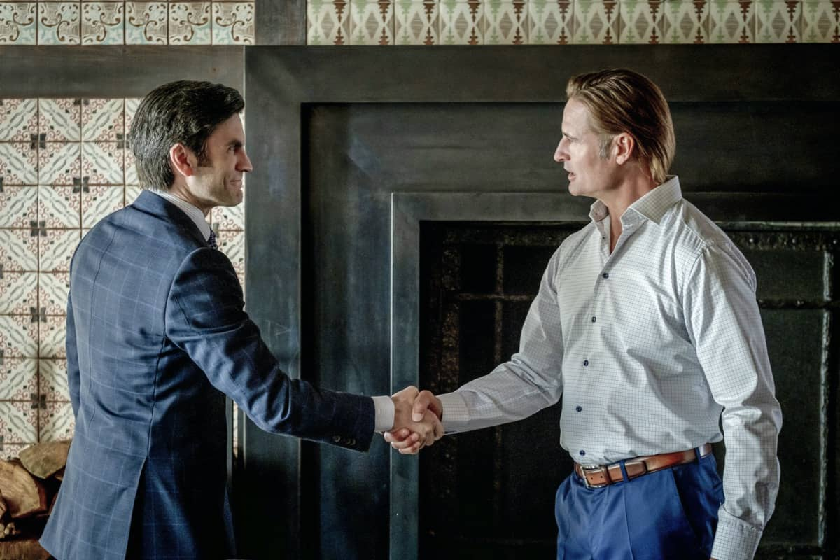 "(L-R) Wes Bentley as Jamie Dutton and Josh Holloway as Roarke Morris. Episode 6 of Yellowstone - ""All for Nothing"" Premieres July 26th at 9 P.M. ET/PT on Paramount Network."