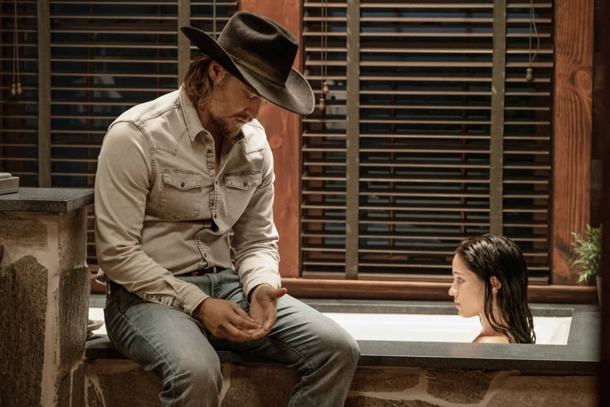 "(L-R) Luke Grimes as Kayce Dutton and Kelsey Asbille as Monica Dutton. Episode 6 of Yellowstone - ""All for Nothing"" Premieres July 26th at 9 P.M. ET/PT on Paramount Network."