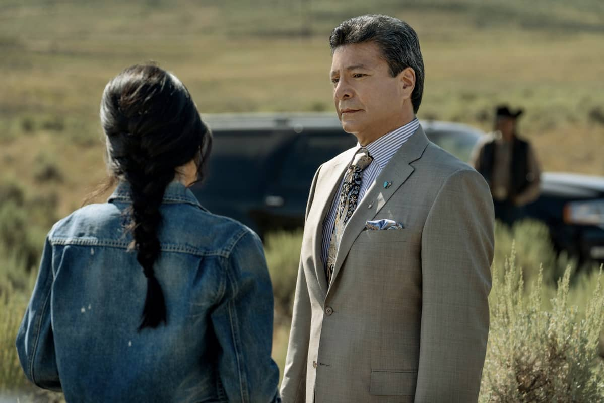 "(L-R) Kelsey Asbille as Monica Dutton and Gil Birmingham as Thomas Rainwater. Episode 6 of Yellowstone - ""All for Nothing"" Premieres July 26th at 9 P.M. ET/PT on Paramount Network."