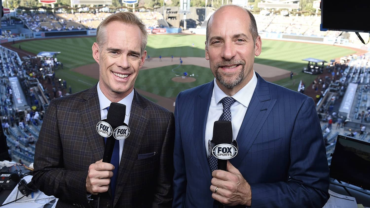 LOS ANGELES - OCTOBER 26: Joe Buck and John Smoltz at the World Series on Fox - Game 3 - Boston Red Sox at Los Angeles Dodgers at Dodgers Stadium on October 26, 2018 in Los Angeles, California. (Photo by Frank Micelotta/Fox/PictureGroup)