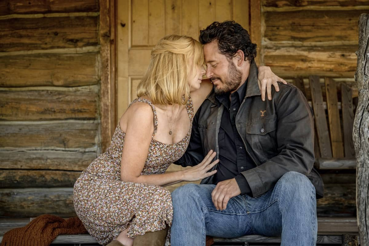"(L-R) Kelly Reilly as Beth Dutton and Cole Hauser as Rip Wheeler. Episode 7 of Yellowstone - ""The Beating"" Premieres August 2nd at 9 P.M. ET/PT on Paramount Network."