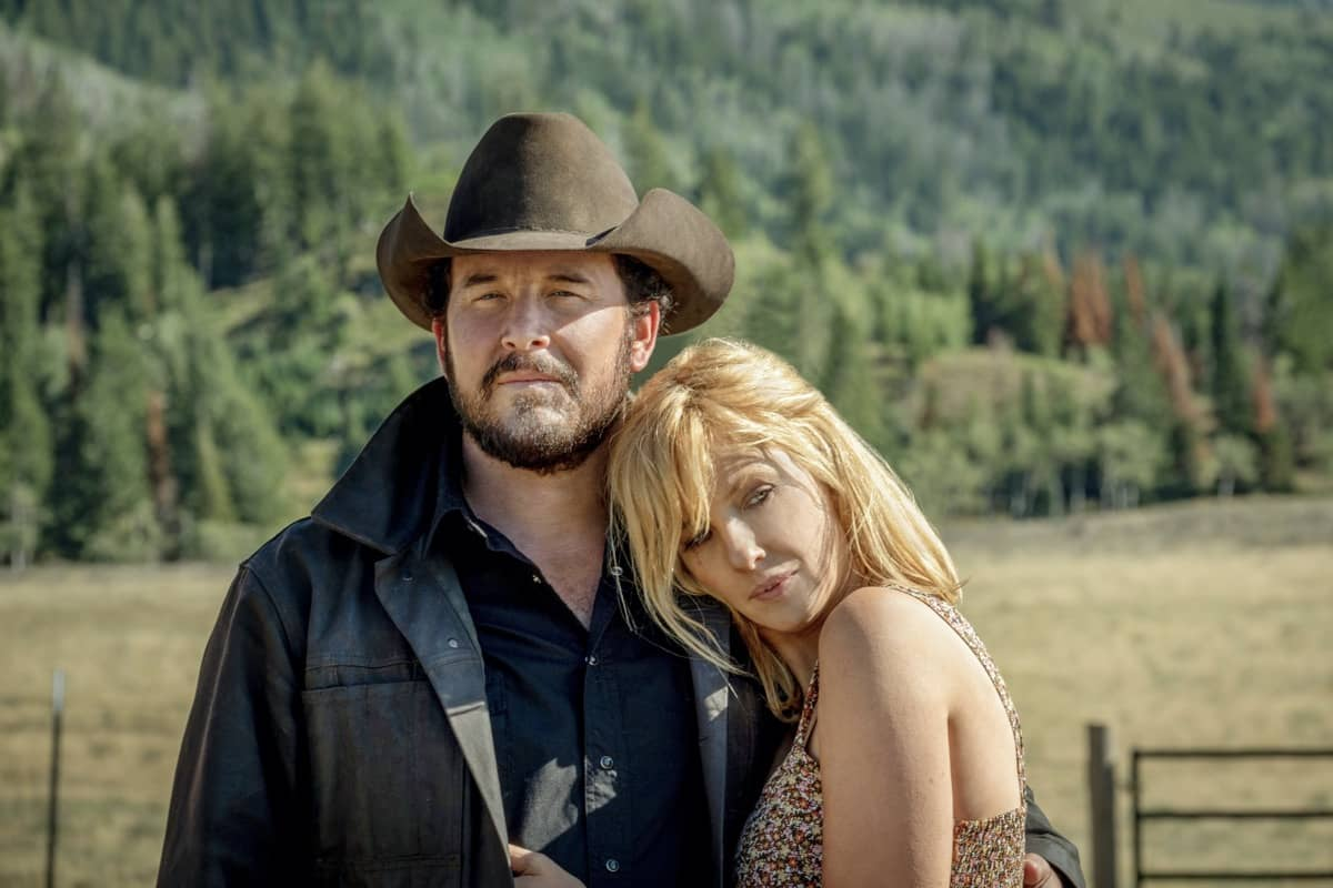 "(L-R) Cole Hauser as Rip Wheeler and Kelly Reilly as Beth Dutton. Episode 7 of Yellowstone - ""The Beating"" Premieres August 2nd at 9 P.M. ET/PT on Paramount Network."