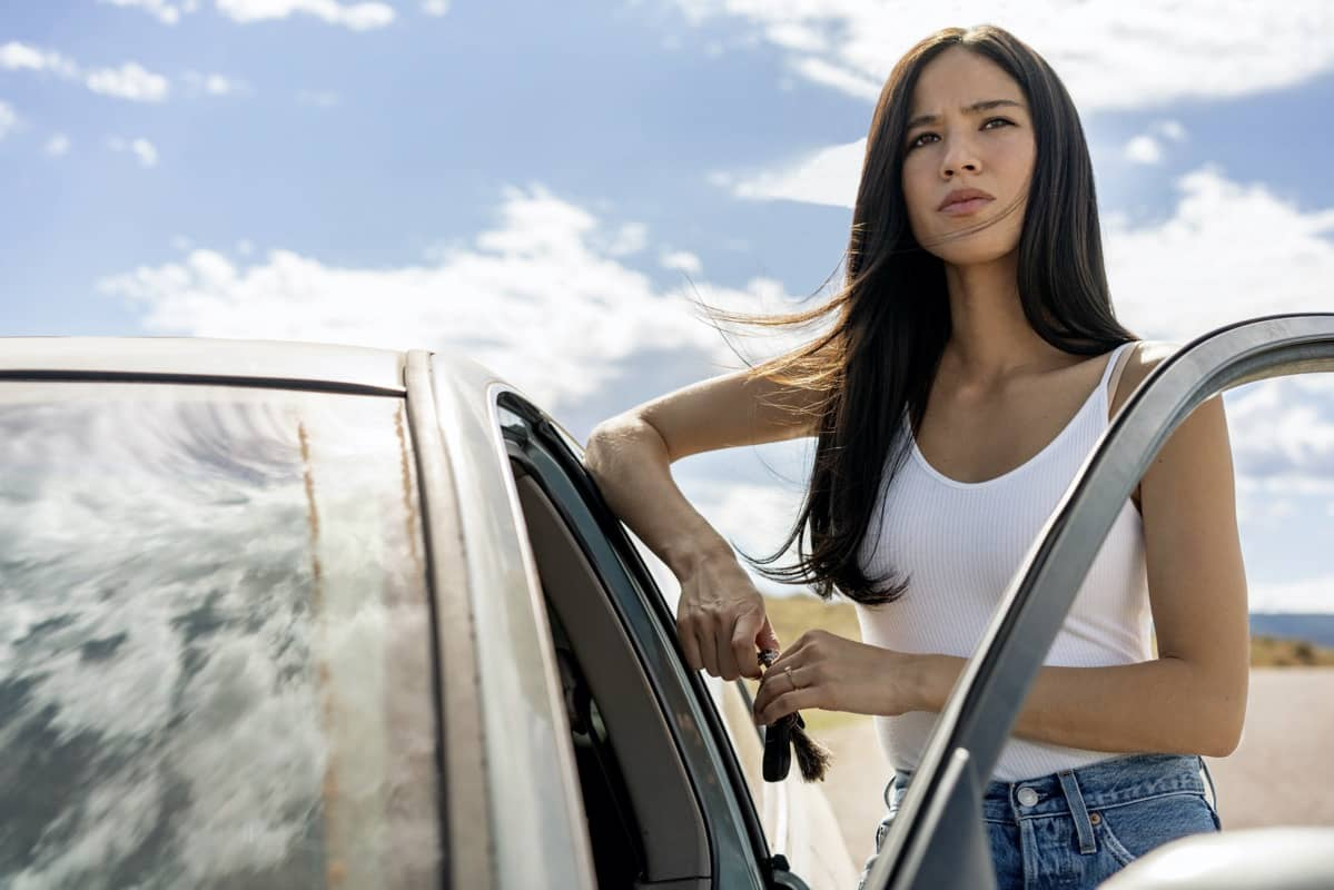 "Kelsey Asbille as Monica Dutton. Episode 8 of Yellowstone - ""I Killed a Man Today"" Premieres August 9th at 9 P.M. ET/PT on Paramount Network."