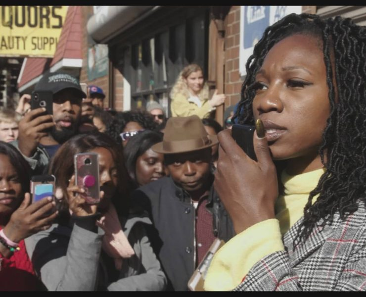 Amara Enyia at a rally in Chicago. The five-part series CITY SO REAL is a gritty and loving depiction of a quintessentially American city, Chicago, that is at once fiercely unique and a microcosm of the nation ⎯ and our world ⎯ as a whole. (courtesy Participant Media)