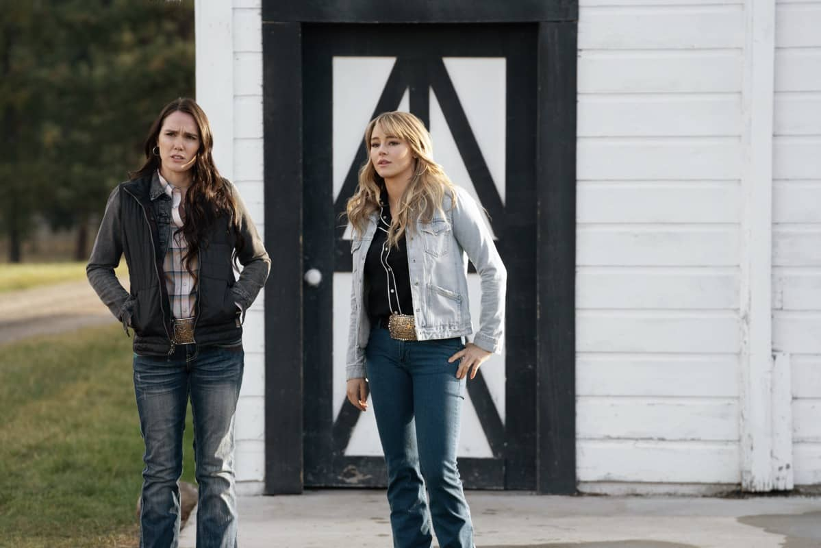 """(L-R) Eden Brolin as Mia and Hassie Harrison as Laramie. Episode 9 of Yellowstone - """"Meaner than Evil"""" Premieres August 16th at 9 P.M. ET/PT on Paramount Network."""
