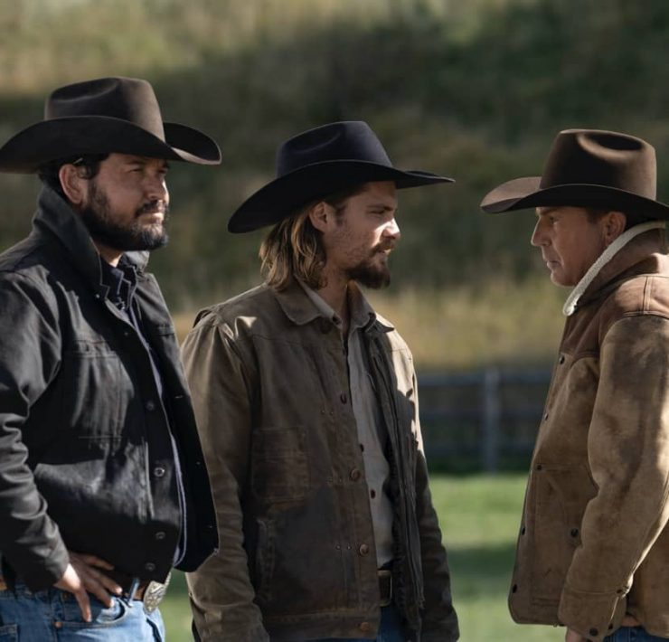 "(L-R) Cole Hauser as Rip Wheeler, Luke Grimes as Kayce Dutton and Kevin Costner as John Dutton. Episode 9 of Yellowstone - ""Meaner than Evil"" Premieres August 16th at 9 P.M. ET/PT on Paramount Network."