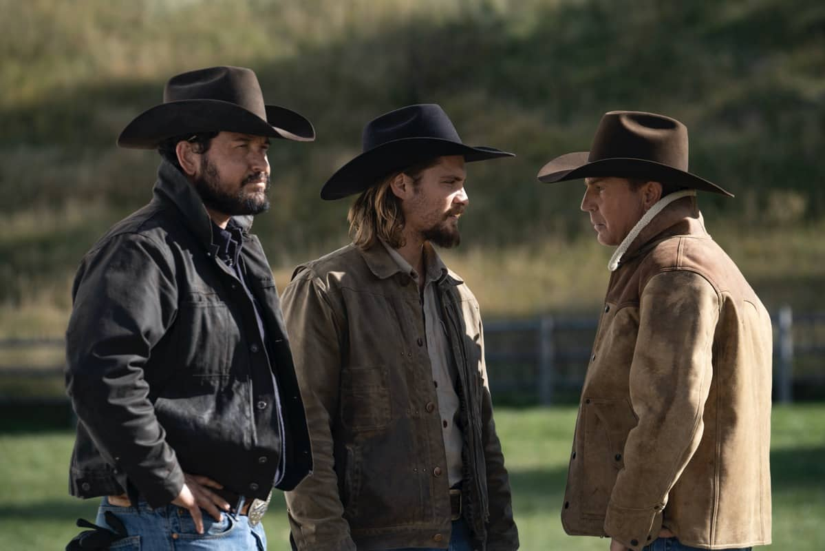 """(L-R) Cole Hauser as Rip Wheeler, Luke Grimes as Kayce Dutton and Kevin Costner as John Dutton. Episode 9 of Yellowstone - """"Meaner than Evil"""" Premieres August 16th at 9 P.M. ET/PT on Paramount Network."""