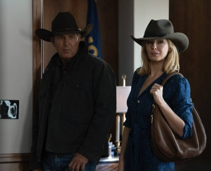 """(L-R) Kevin Costner as John Dutton and Kelly Reilly as Beth Dutton. The Season Three Finale of Yellowstone - """"The World is Purple"""" Premieres August 23rd at 9 P.M. ET/PT on Paramount Network."""