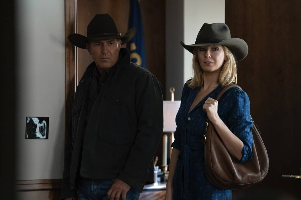 "(L-R) Kevin Costner as John Dutton and Kelly Reilly as Beth Dutton. The Season Three Finale of Yellowstone - ""The World is Purple"" Premieres August 23rd at 9 P.M. ET/PT on Paramount Network."
