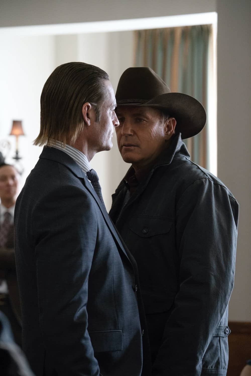"""(L-R) Josh Holloway as Roarke Morris and Kevin Costner as John Dutton. The Season Three Finale of Yellowstone - """"The World is Purple"""" Premieres August 23rd at 9 P.M. ET/PT on Paramount Network."""