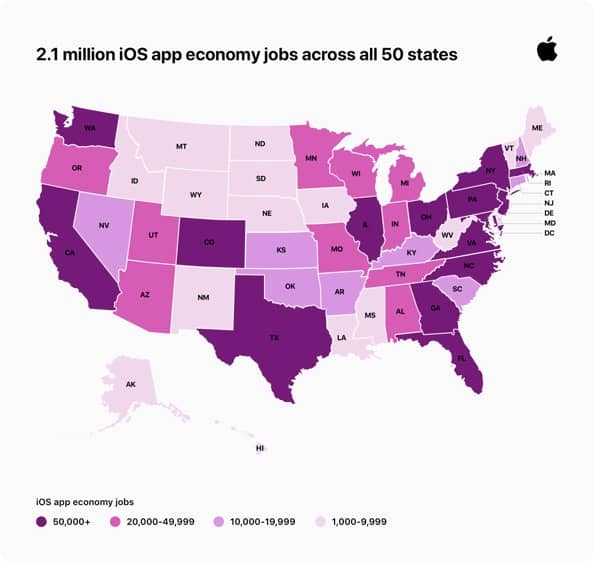 Apple iOS app economy creates new US jobs infographic 09022020