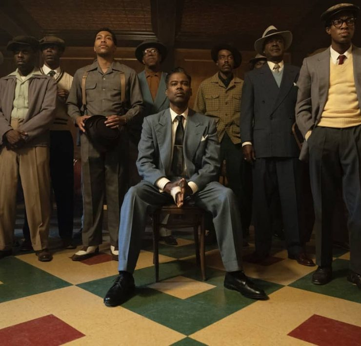 FARGO -- Year 4, Episode 1 - Pictured: Jeremie Harris as Leon Bittle, Chris Rock as Loy Cannon, Corey Hendrix as Omie Sparkman, Glynn Turman as Doctor Senator. CR: Elizabeth Morris/FX