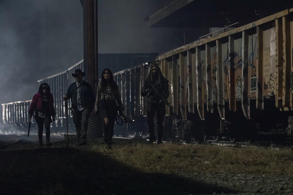 Norman Reedus as Daryl Dixon, Josh McDermitt as Dr. Eugene Porter, Eleanor Matsuura as Yumiko, Paola Lazaro as Princess - The Walking Dead _ Season 10, Episode 16 - Photo Credit: Jackson Lee Davis/AMC