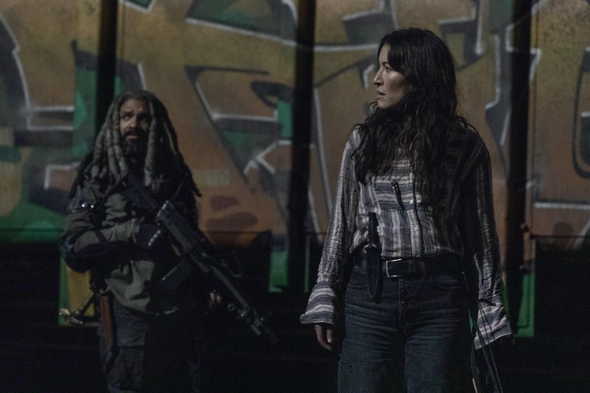 Khary Payton as Ezekiel, Eleanor Matsuura as Yumiko - The Walking Dead _ Season 10, Episode 16 - Photo Credit: Jackson Lee Davis/AMC