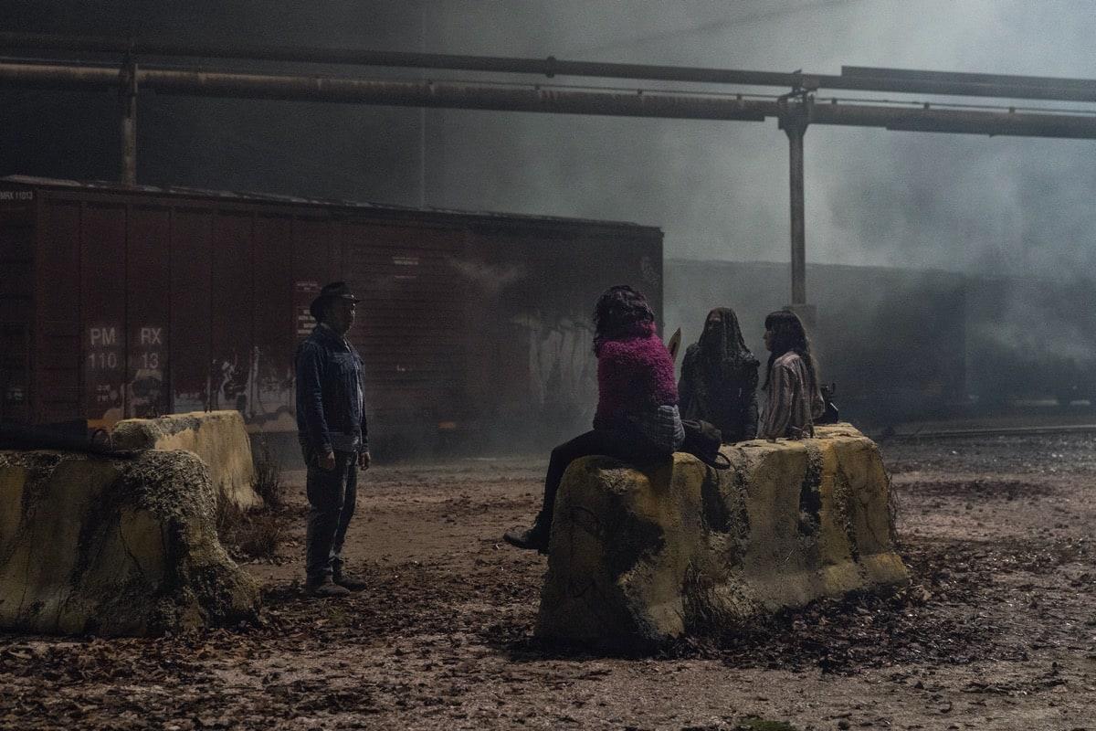Khary Payton as Ezekiel, Josh McDermitt as Dr. Eugene Porter, Eleanor Matsuura as Yumiko, Paola Lazaro as Princess - The Walking Dead _ Season 10, Episode 16 - Photo Credit: Jackson Lee Davis/AMC